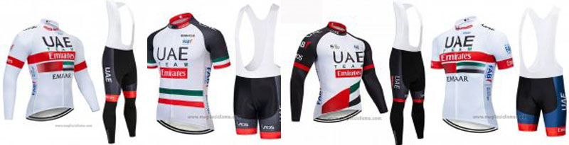 2019 Abbigliamento Ciclismo UCI Mondo Campione UAE Bianco Nero Rosso Manica Corta e Salopette