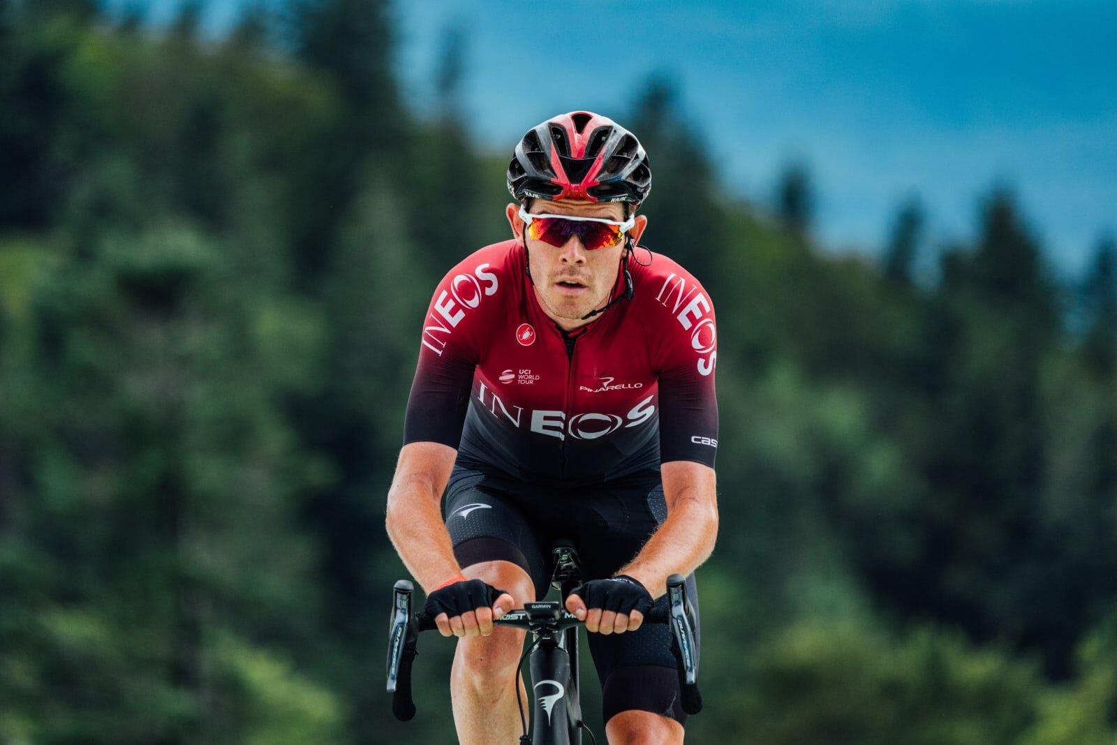 Abbigliamento Ciclismo Ineos Grenadiers Rosso Scuro Blu Manica Corta e Salopette
